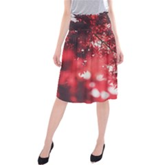 Maple Leaves Red Autumn Fall Midi Beach Skirt