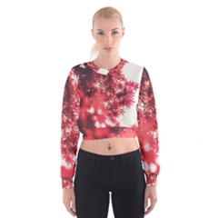 Maple Leaves Red Autumn Fall Women s Cropped Sweatshirt