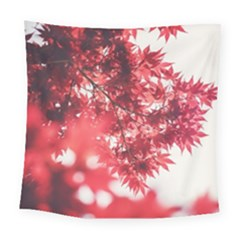 Maple Leaves Red Autumn Fall Square Tapestry (large)