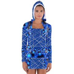 Network Connection Structure Knot Women s Long Sleeve Hooded T Shirt