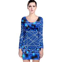 Network Connection Structure Knot Long Sleeve Velvet Bodycon Dress