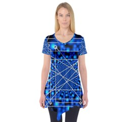 Network Connection Structure Knot Short Sleeve Tunic