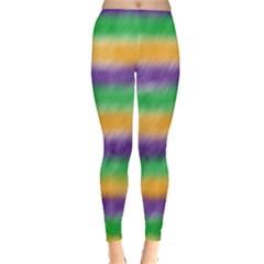 Mardi Gras Strip Tie Die Leggings