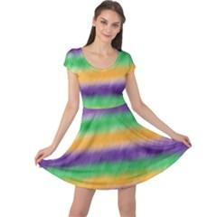 Mardi Gras Strip Tie Die Cap Sleeve Dresses