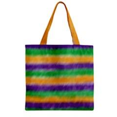 Mardi Gras Strip Tie Die Zipper Grocery Tote Bag