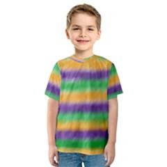 Mardi Gras Strip Tie Die Kids  Sport Mesh Tee