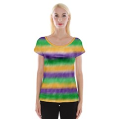 Mardi Gras Strip Tie Die Women s Cap Sleeve Top