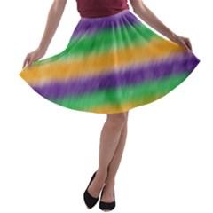 Mardi Gras Strip Tie Die A-line Skater Skirt