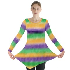 Mardi Gras Strip Tie Die Long Sleeve Tunic
