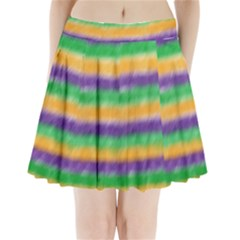 Mardi Gras Strip Tie Die Pleated Mini Skirt