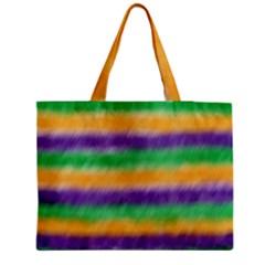 Mardi Gras Strip Tie Die Medium Zipper Tote Bag