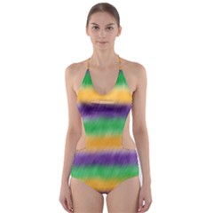 Mardi Gras Strip Tie Die Cut-Out One Piece Swimsuit
