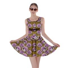 Gold Plates With Magic Flowers Raining Down Skater Dress