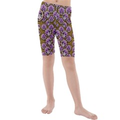 Gold Plates With Magic Flowers Raining Down Kids  Mid Length Swim Shorts
