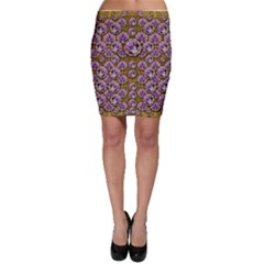 Gold Plates With Magic Flowers Raining Down Bodycon Skirt