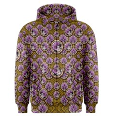 Gold Plates With Magic Flowers Raining Down Men s Zipper Hoodie