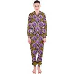 Gold Plates With Magic Flowers Raining Down Hooded Jumpsuit (Ladies)