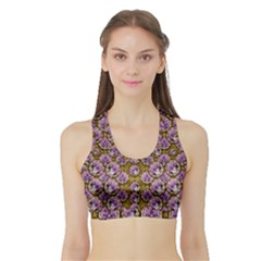 Gold Plates With Magic Flowers Raining Down Sports Bra With Border