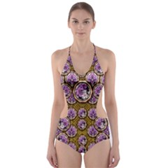 Gold Plates With Magic Flowers Raining Down Cut Out One Piece Swimsuit