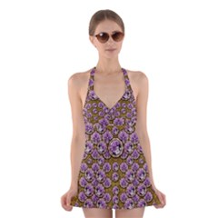 Gold Plates With Magic Flowers Raining Down Halter Swimsuit Dress
