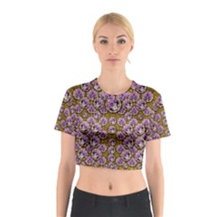 Gold Plates With Magic Flowers Raining Down Cotton Crop Top