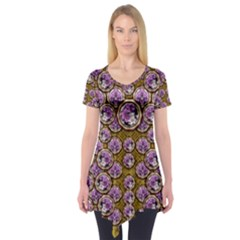 Gold Plates With Magic Flowers Raining Down Short Sleeve Tunic