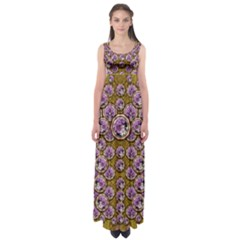 Gold Plates With Magic Flowers Raining Down Empire Waist Maxi Dress