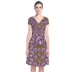 Gold Plates With Magic Flowers Raining Down Short Sleeve Front Wrap Dress