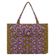 Gold Plates With Magic Flowers Raining Down Medium Zipper Tote Bag