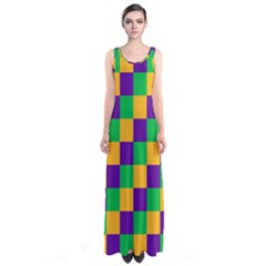 Mardi Gras Checkers Sleeveless Maxi Dress