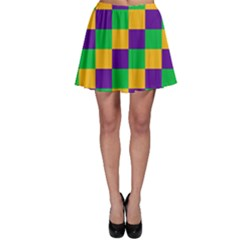Mardi Gras Checkers Skater Skirt