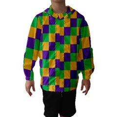 Mardi Gras Checkers Hooded Wind Breaker (Kids)