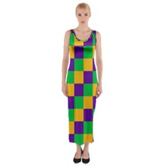 Mardi Gras Checkers Fitted Maxi Dress