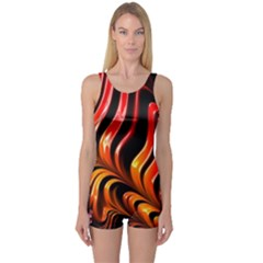 Fractal Mathematics Abstract One Piece Boyleg Swimsuit