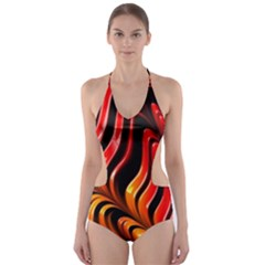 Fractal Mathematics Abstract Cut-Out One Piece Swimsuit