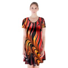 Fractal Mathematics Abstract Short Sleeve V Neck Flare Dress