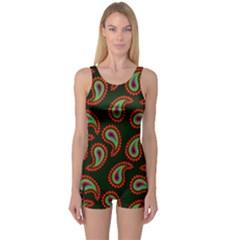 Pattern Abstract Paisley Swirls One Piece Boyleg Swimsuit