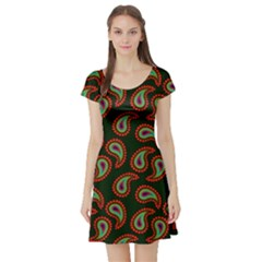 Pattern Abstract Paisley Swirls Short Sleeve Skater Dress