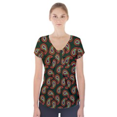 Pattern Abstract Paisley Swirls Short Sleeve Front Detail Top