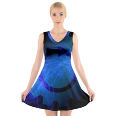 Particles Gear Circuit District V-Neck Sleeveless Skater Dress