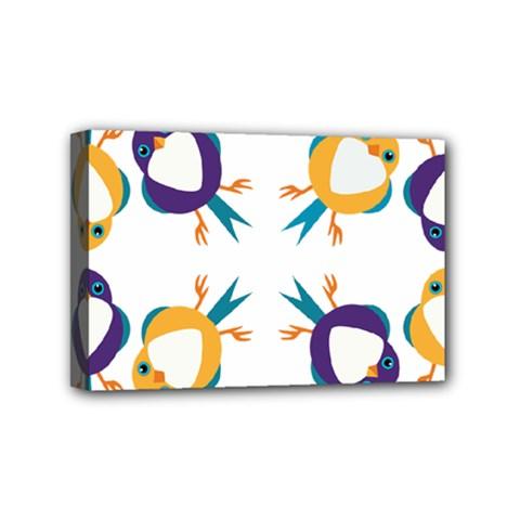 Pattern Circular Birds Mini Canvas 6  X 4