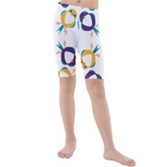 Pattern Circular Birds Kids  Mid Length Swim Shorts