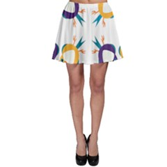 Pattern Circular Birds Skater Skirt