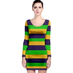 Mardi Gras Stripes Long Sleeve Bodycon Dress