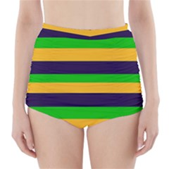 Mardi Gras Stripes High-Waisted Bikini Bottoms