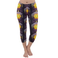 Pattern Background Yellow Bright Capri Winter Leggings