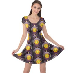 Pattern Background Yellow Bright Cap Sleeve Dresses