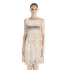 Pattern Background Beige Cream Sleeveless Chiffon Waist Tie Dress