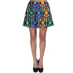 Pattern Background Bright Blue Skater Skirt