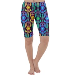 Pattern Background Bright Blue Cropped Leggings